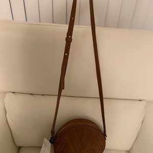 "Lili Radu Circle Suede ""V"" Bag in Cognac"